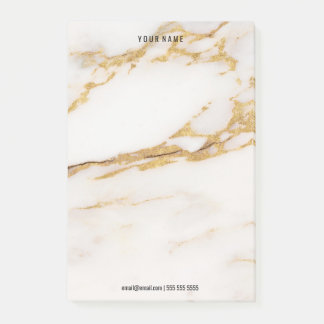 Minimal White Creamy Gold Marble Stone Luxury Name Post-it Notes