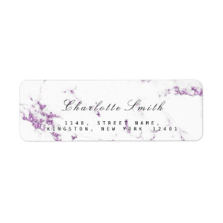 Minimal White Purple Lavender Marble RSVP