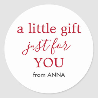 Minimal White Red Text for Gift Classic Round Sticker