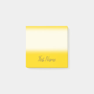 Minimal Yellow Background w/ Midnight Blue Name Post-it Notes