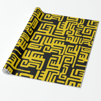 Minimal Yellow Black African Tribal Pattern