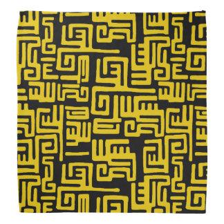 Minimal Yellow Black African Tribal Pattern Bandannas