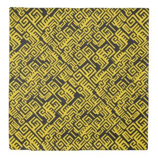 Minimal Yellow Black African Tribal Pattern Duvet Cover