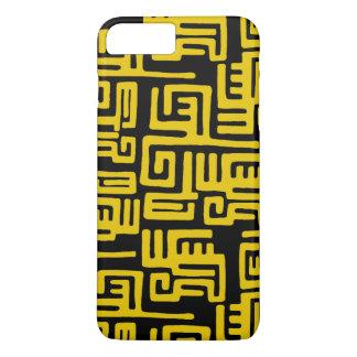 Minimal Yellow Black African Tribal Pattern iPhone 7 Plus Case