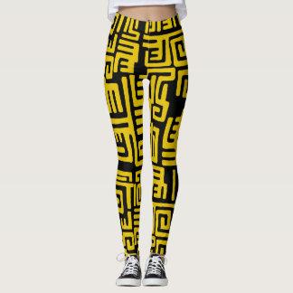 Minimal Yellow Black African Tribal Pattern Leggings