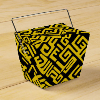 Minimal Yellow Black African Tribal Pattern Party Favor Box