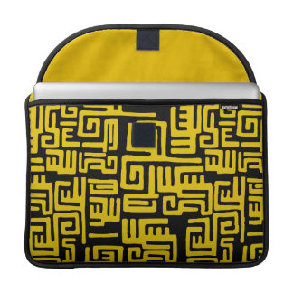 Minimal Yellow Black African Tribal Pattern Sleeves For MacBooks