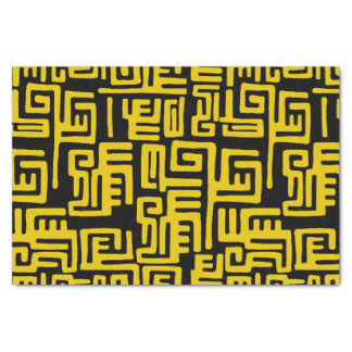 Minimal Yellow Black African Tribal Pattern Tissue Paper
