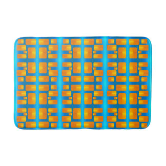 Minimalism Abstract Aqua and Bright Orange Bath Mat