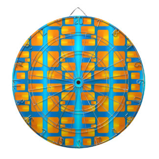 Minimalism Abstract Aqua and Bright Orange Dartboard With Darts