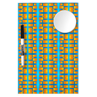 Minimalism Abstract Aqua and Bright Orange Dry Erase Board With Mirror