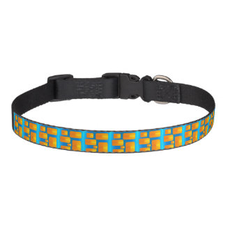 Minimalism Abstract Aqua and Bright Orange Pet Collar