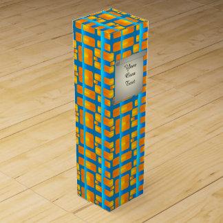 Minimalism Abstract Aqua and Bright Orange Wine Gift Box
