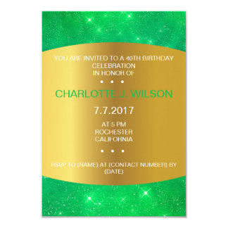 Minimalism Birthday Golden Galaxy Emerald Green Card