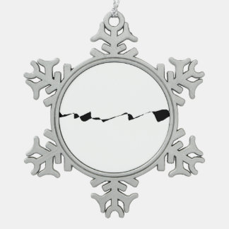 Minimalism - Black and White Pewter Snowflake Ornament