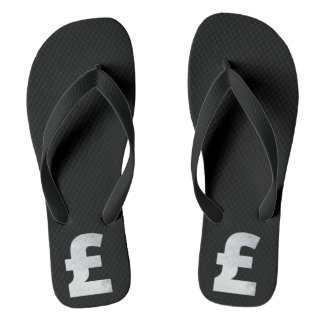 Minimalism Conceptual Pound Mark Silver Flip Flops