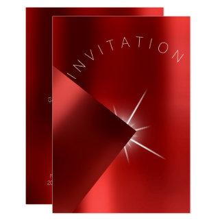 Minimalism Fashion Event Metal Red Ruby Star White Card