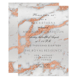 Minimalism Gray Marble Rose Gold Copper Birthday Card