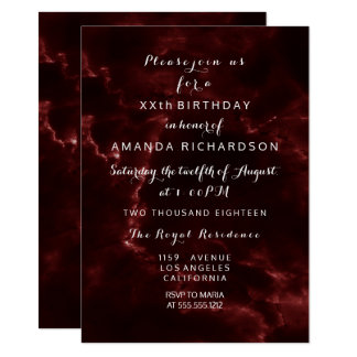 Minimalism Maroon Burgundy Marble Event Abstract Card