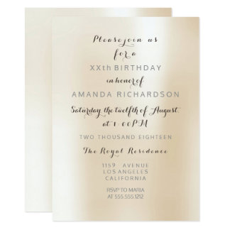 Minimalism Pearly Ivory Creamy Pastel Metal Party Card