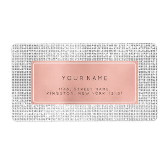 Minimalism Pink Rose Foil Silver Return Address Shipping Label