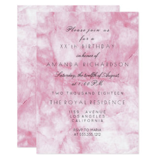 Minimalism Pink Rose White Marble  Birthday Card