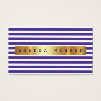 Minimalism Purple White Stripes Vip Golden Foil Business Card