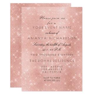 Minimalism Rose Pink Blush Sparkly Gold Birthday Card