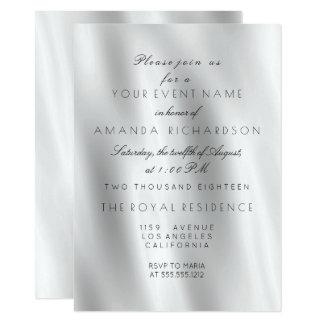 Minimalism White Gray Silk Fabric Ombre  Birthday Card