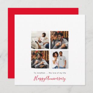 Minimalist 4 photo Collage Personalise Anniversary Card