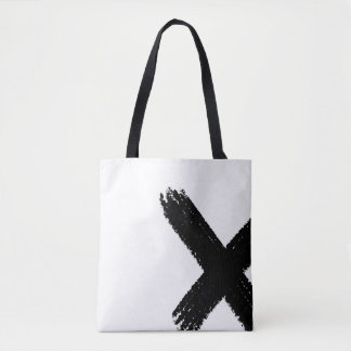 Minimalist abstract black brush stroke tote bag