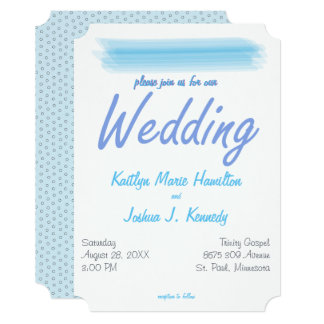 Minimalist Ambiance Blue Watercolor Wedding Card