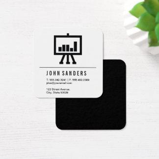 Minimalist Bar Chart Icon Square Business Card