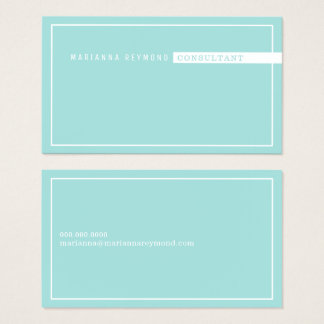 minimalist basic, consultant pale turquoise blue business card