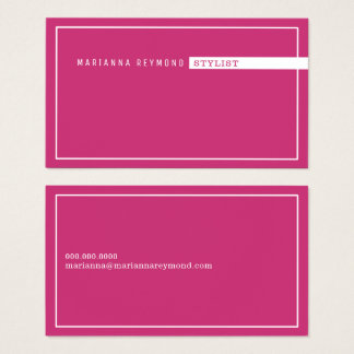 minimalist basic, stylist fuchsia pink business card