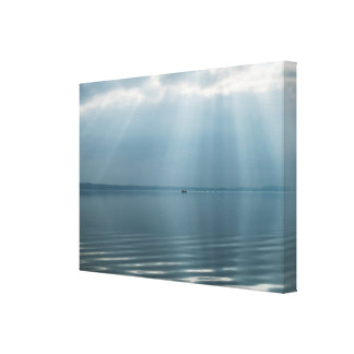 Minimalist Beautiful Seascape with Dramatic Clouds Canvas Print