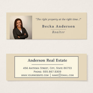 Minimalist Beige Ivory Real Estate Photo Template Mini Business Card