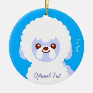 Minimalist Bichon Frise Kawaii Dog Cartoon Round Ceramic Ornament