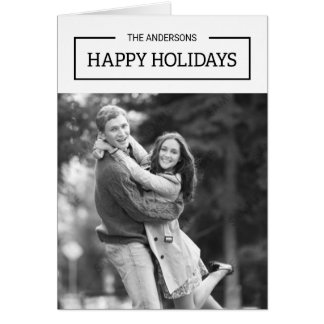 Minimalist Black and White Happy Holidays Photo Card