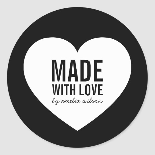 Minimalist Black and White Heart Made with Love Classic Round Sticker