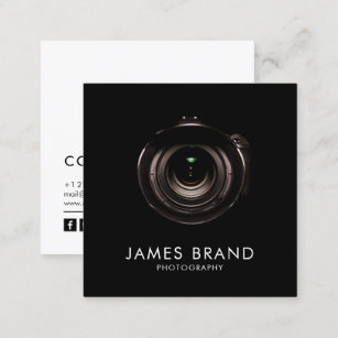 Black and white photography business cards profile cards zazzle ca minimalist black and white photography square business card reheart Images