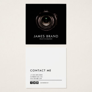 Minimalist Black and White Photography Square Business Card