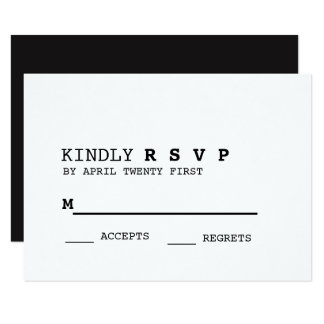 "Minimalist Black and White RSVP Card 3.5"" X 5"" Invitation Card"