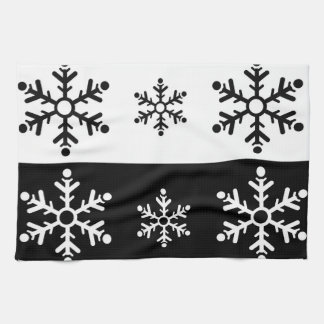Minimalist black and white snowflake pattern kitchen towel