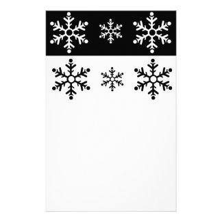 Minimalist black and white snowflake pattern stationery