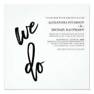 Minimalist Black and White Typography Wedding Card