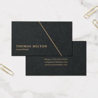 Minimalist Black Faux Gold Line Consultant Business Card