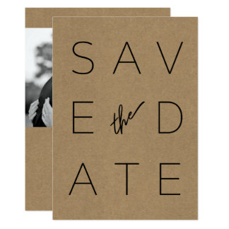 Minimalist Black & Kraft Paper Photo Save the Date Card