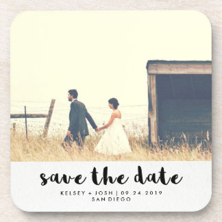 Minimalist Black Typography Photo Save the Date Drink Coaster
