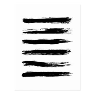 Minimalist Black & White Brush Strokes Postcard